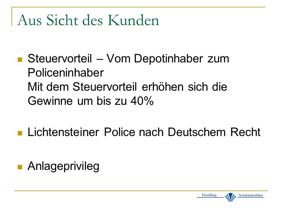 Aus Sicht des Kunden Steuervorteil – Vom Depotinhaber zum Policeninhaber Mit dem Steuervorteil erhöhen sich die Gewinne um bis zu 40% Lichtensteiner Police nach Deutschem Recht Anlageprivileg