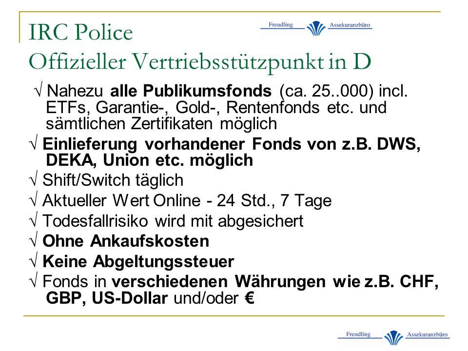 IRC Police Offizieller Vertriebsstützpunkt in D Nahezu alle Publikumsfonds (ca.