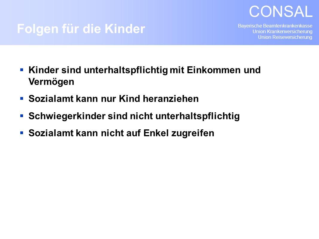 Bayerische Beamtenkrankenkasse Union Krankenversicherung Union Reiseversicherung CONSAL Kinder sind unterhaltspflichtig mit Einkommen und Vermögen Soz