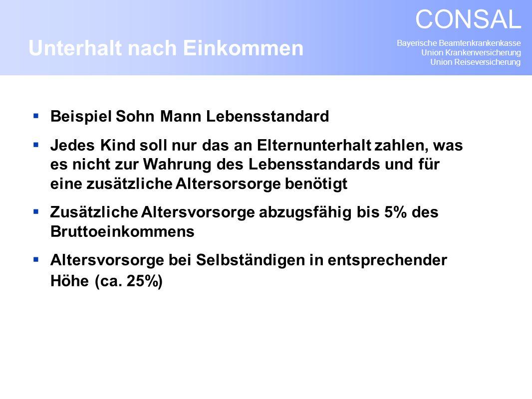 Bayerische Beamtenkrankenkasse Union Krankenversicherung Union Reiseversicherung CONSAL Beispiel Sohn Mann Lebensstandard Jedes Kind soll nur das an E