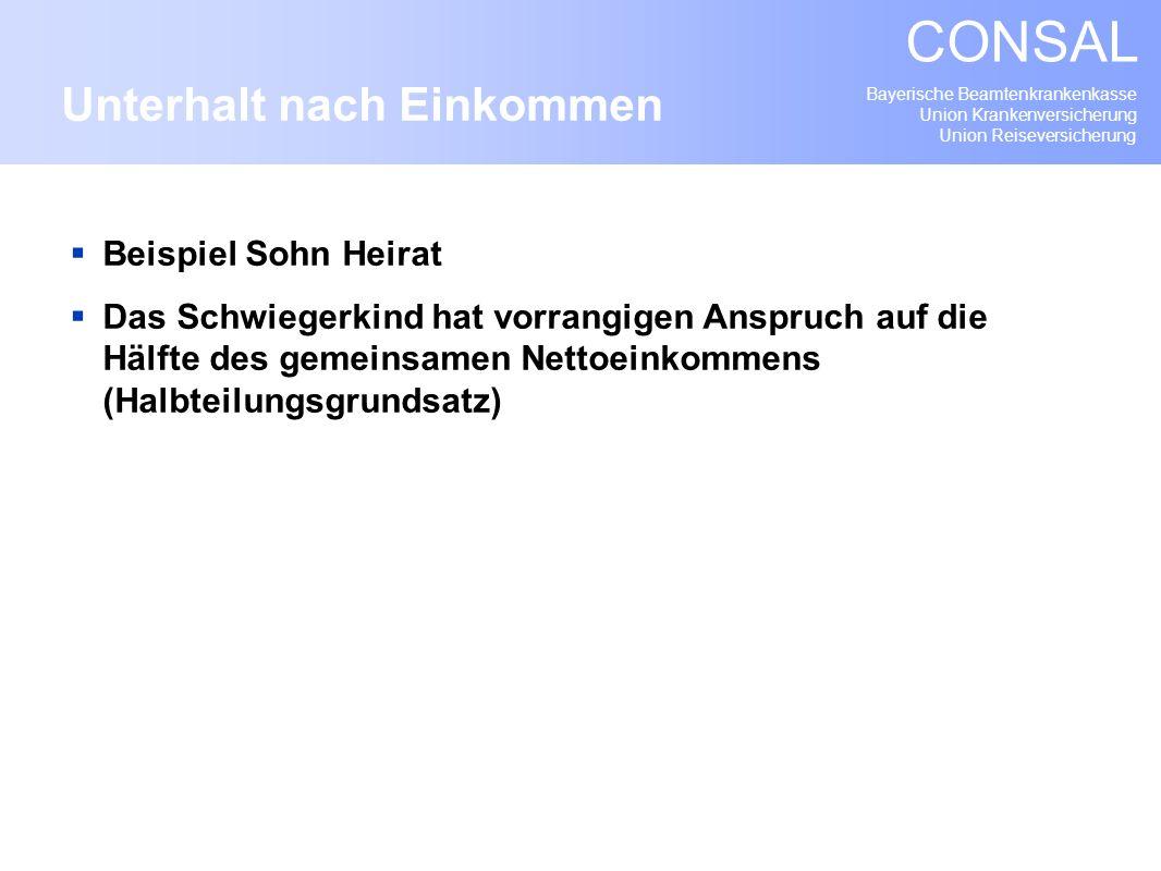 Bayerische Beamtenkrankenkasse Union Krankenversicherung Union Reiseversicherung CONSAL Beispiel Sohn Heirat Das Schwiegerkind hat vorrangigen Anspruc