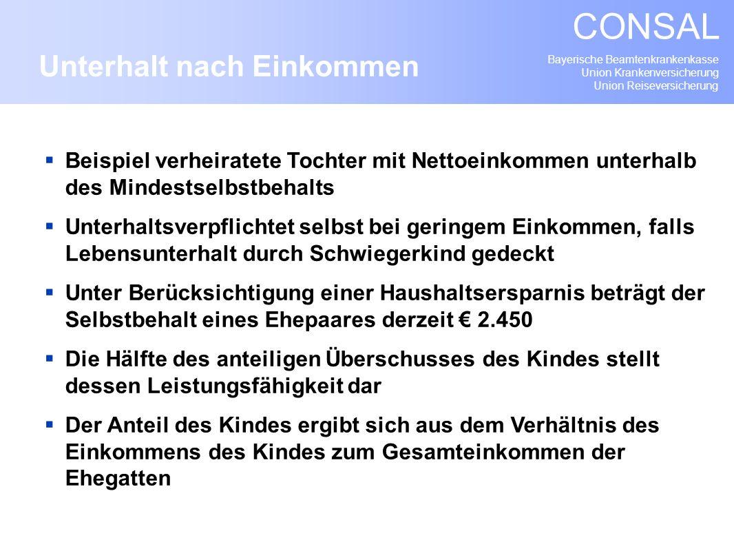 Bayerische Beamtenkrankenkasse Union Krankenversicherung Union Reiseversicherung CONSAL Beispiel verheiratete Tochter mit Nettoeinkommen unterhalb des