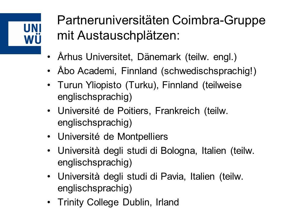 Partneruniversitäten Coimbra-Gruppe mit Austauschplätzen: Århus Universitet, Dänemark (teilw.
