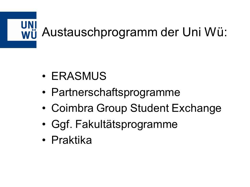 Partnerschaftsprogramme (offen für alle Studierende der Universität Würzburg) Leistungen: Studiengebührenerlass (nicht Kuba!) Voll- oder Teilstipendium (teilweise) kostenlose Unterkunft Teilweise Leistungsentgelt als Teaching Assistant in: Umeaa, Caen, Albany, Oneonta) Voraussetzungen: Mind.