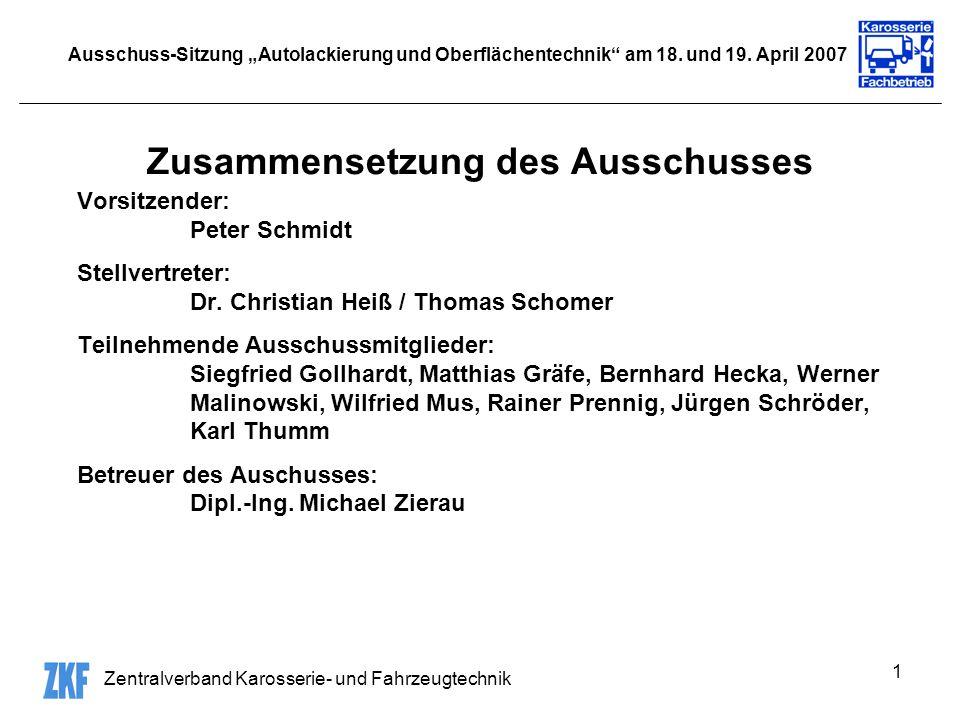 Zentralverband Karosserie- und Fahrzeugtechnik 1 Ausschuss-Sitzung Autolackierung und Oberflächentechnik am 18. und 19. April 2007 Zusammensetzung des