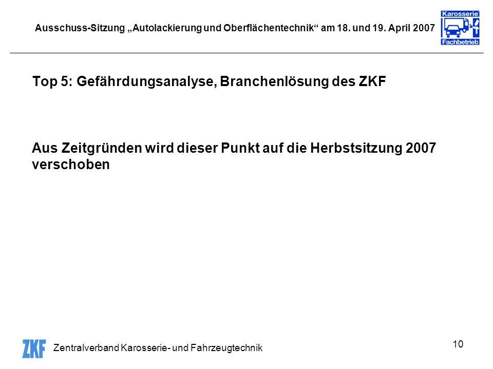 Zentralverband Karosserie- und Fahrzeugtechnik 10 Ausschuss-Sitzung Autolackierung und Oberflächentechnik am 18. und 19. April 2007 Top 5: Gefährdungs