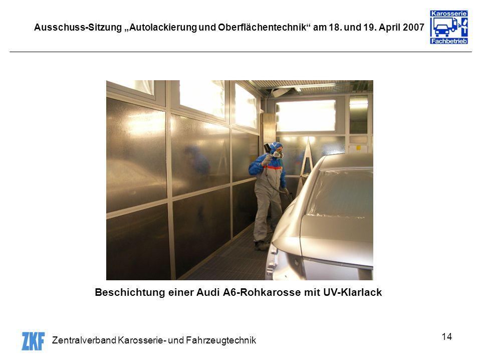 Zentralverband Karosserie- und Fahrzeugtechnik 14 Ausschuss-Sitzung Autolackierung und Oberflächentechnik am 18. und 19. April 2007 Beschichtung einer