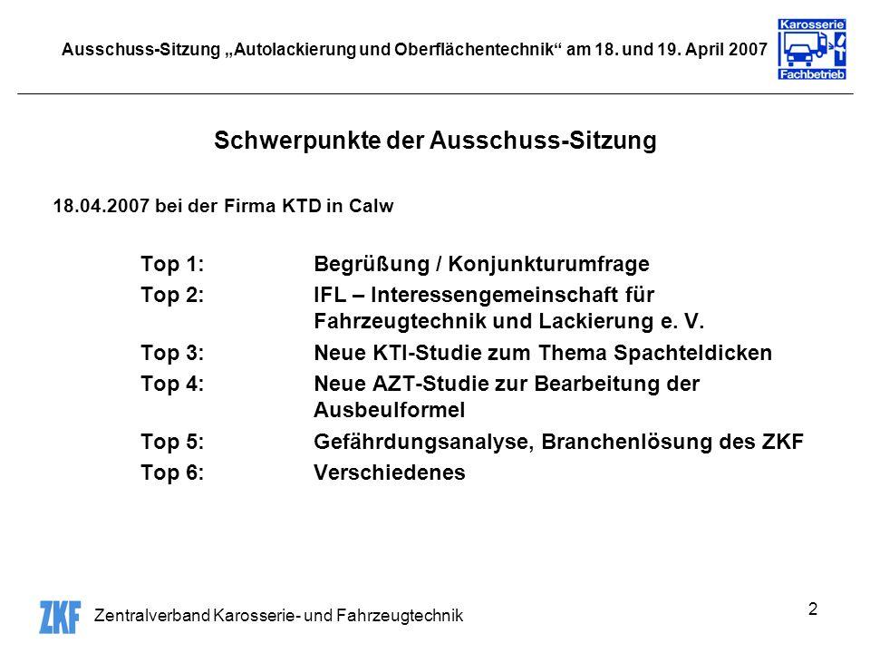 Zentralverband Karosserie- und Fahrzeugtechnik 2 Ausschuss-Sitzung Autolackierung und Oberflächentechnik am 18. und 19. April 2007 Schwerpunkte der Au