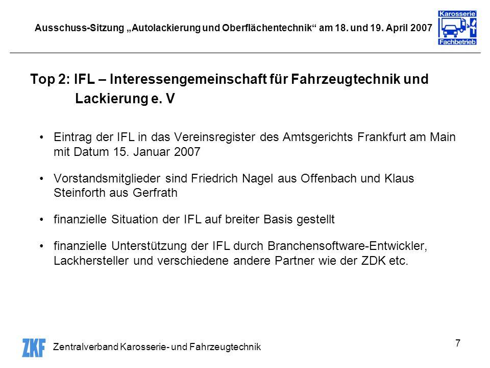 Zentralverband Karosserie- und Fahrzeugtechnik 7 Ausschuss-Sitzung Autolackierung und Oberflächentechnik am 18. und 19. April 2007 Top 2: IFL – Intere