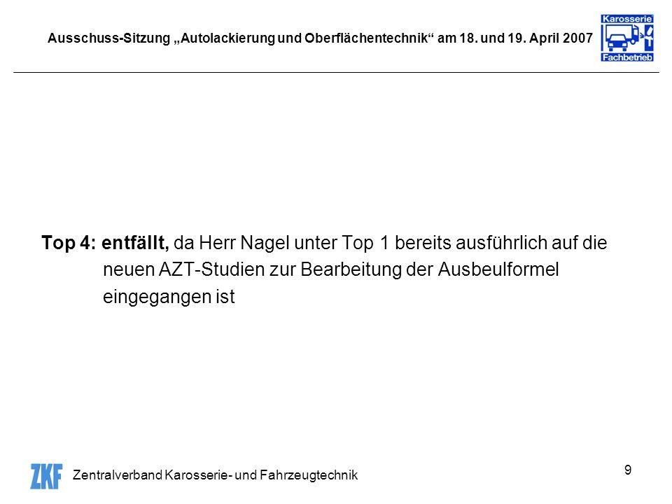 Zentralverband Karosserie- und Fahrzeugtechnik 9 Ausschuss-Sitzung Autolackierung und Oberflächentechnik am 18. und 19. April 2007 Top 4: entfällt, da