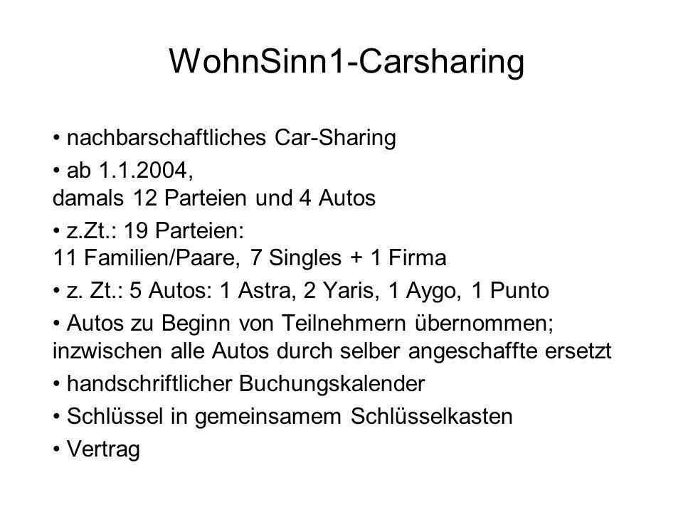 nachbarschaftliches Car-Sharing ab 1.1.2004, damals 12 Parteien und 4 Autos z.Zt.: 19 Parteien: 11 Familien/Paare, 7 Singles + 1 Firma z. Zt.: 5 Autos