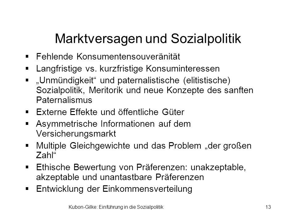 Kubon-Gilke: Einführung in die Sozialpolitik13 Marktversagen und Sozialpolitik Fehlende Konsumentensouveränität Langfristige vs.