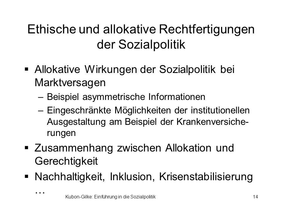 Kubon-Gilke: Einführung in die Sozialpolitik14 Ethische und allokative Rechtfertigungen der Sozialpolitik Allokative Wirkungen der Sozialpolitik bei M