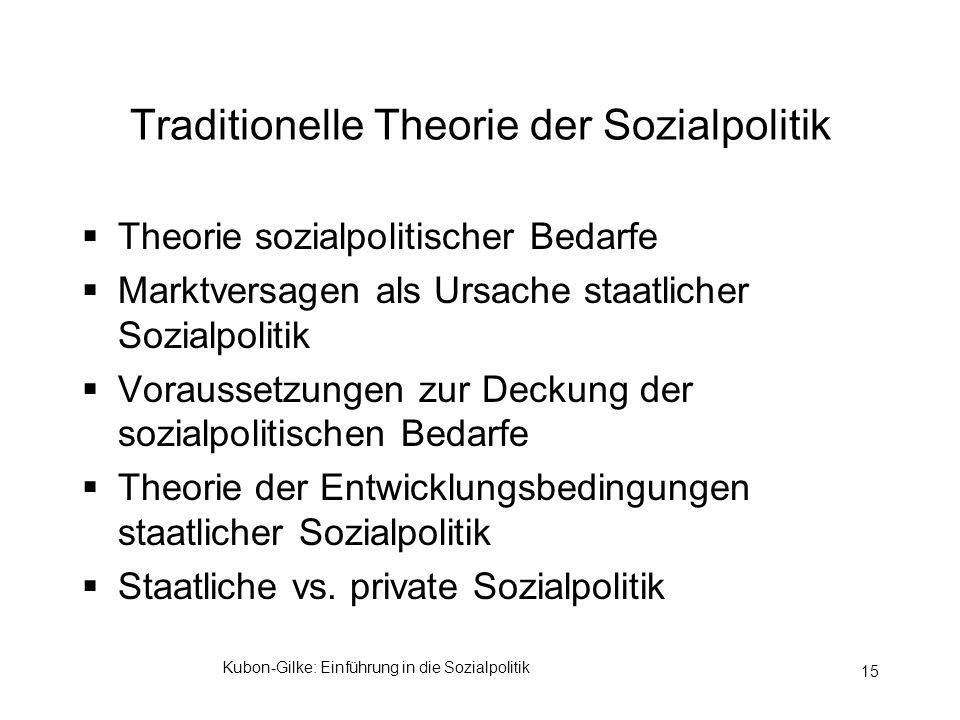 Kubon-Gilke: Einführung in die Sozialpolitik 15 Traditionelle Theorie der Sozialpolitik Theorie sozialpolitischer Bedarfe Marktversagen als Ursache st