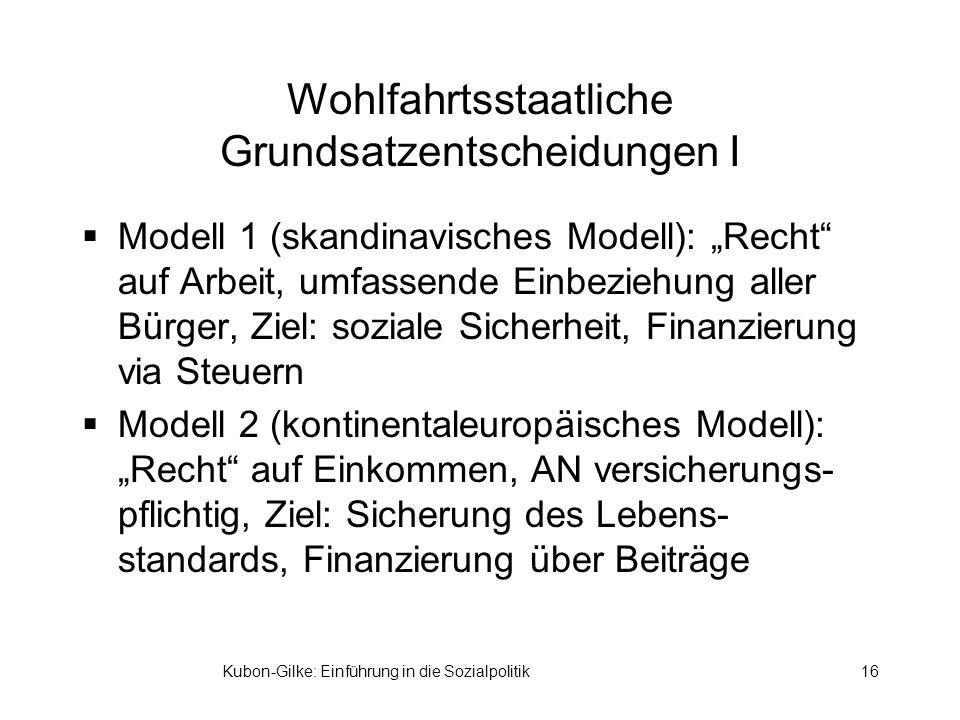 Kubon-Gilke: Einführung in die Sozialpolitik16 Wohlfahrtsstaatliche Grundsatzentscheidungen I Modell 1 (skandinavisches Modell): Recht auf Arbeit, umf