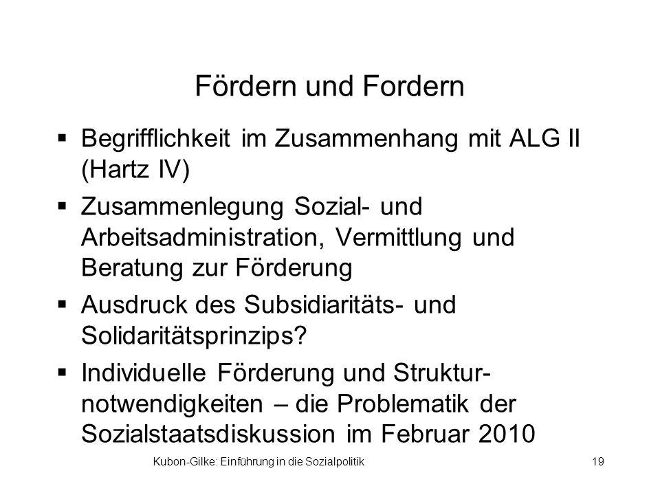 Fördern und Fordern Begrifflichkeit im Zusammenhang mit ALG II (Hartz IV) Zusammenlegung Sozial- und Arbeitsadministration, Vermittlung und Beratung zur Förderung Ausdruck des Subsidiaritäts- und Solidaritätsprinzips.