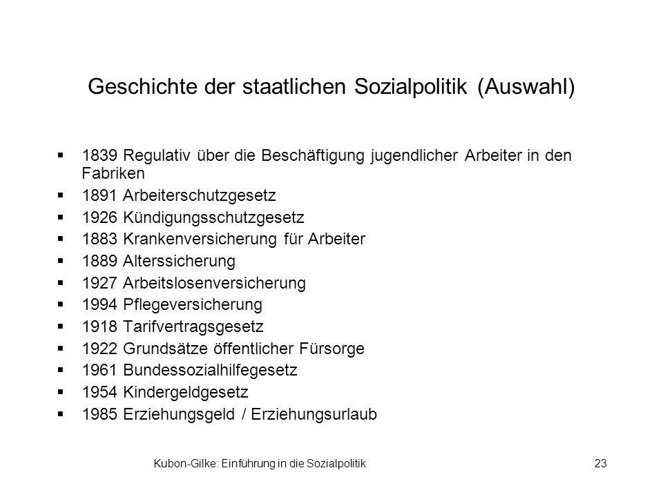 Kubon-Gilke: Einführung in die Sozialpolitik23 Geschichte der staatlichen Sozialpolitik (Auswahl) 1839 Regulativ über die Beschäftigung jugendlicher A