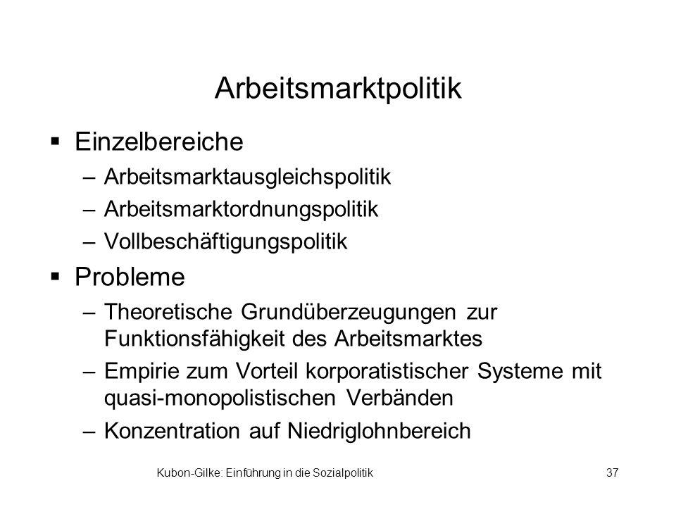 Kubon-Gilke: Einführung in die Sozialpolitik37 Arbeitsmarktpolitik Einzelbereiche –Arbeitsmarktausgleichspolitik –Arbeitsmarktordnungspolitik –Vollbes
