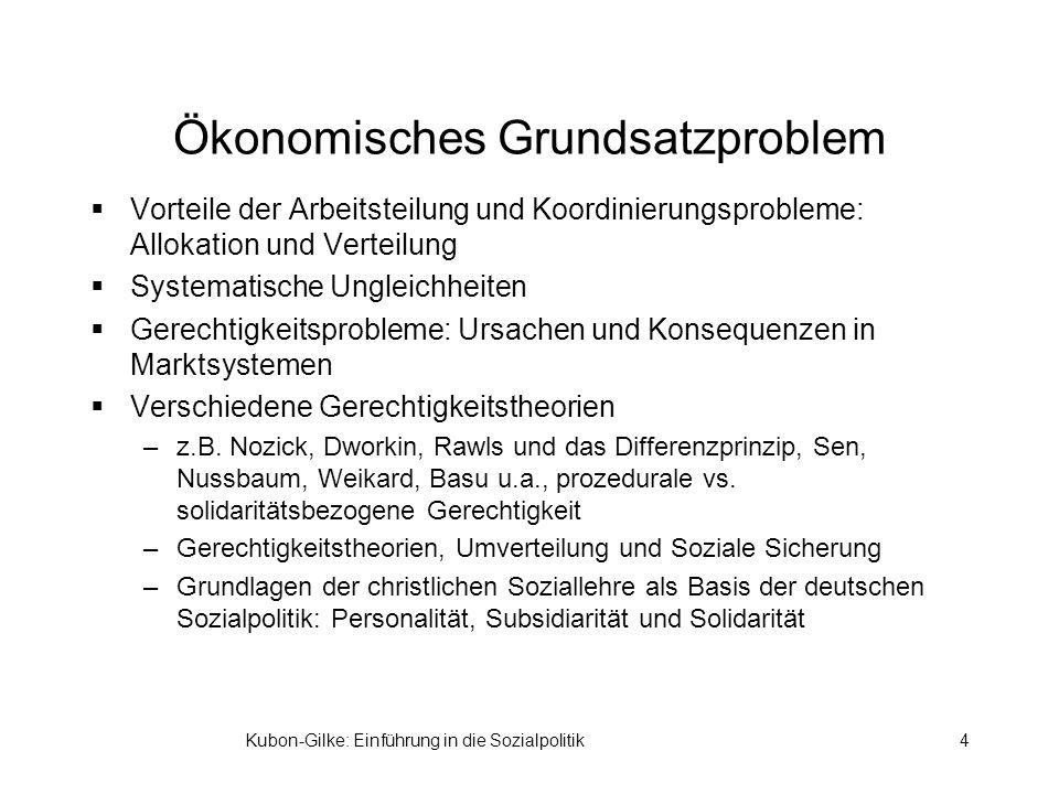 Kubon-Gilke: Einführung in die Sozialpolitik4 Ökonomisches Grundsatzproblem Vorteile der Arbeitsteilung und Koordinierungsprobleme: Allokation und Ver