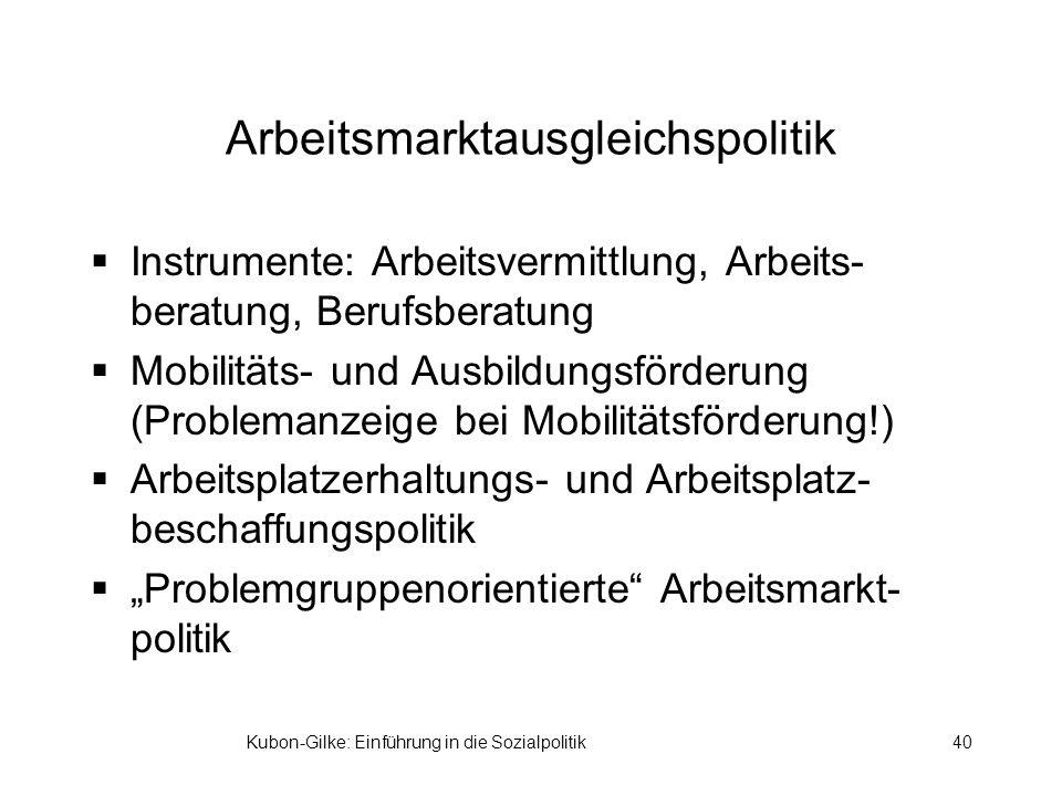 Kubon-Gilke: Einführung in die Sozialpolitik40 Arbeitsmarktausgleichspolitik Instrumente: Arbeitsvermittlung, Arbeits- beratung, Berufsberatung Mobilitäts- und Ausbildungsförderung (Problemanzeige bei Mobilitätsförderung!) Arbeitsplatzerhaltungs- und Arbeitsplatz- beschaffungspolitik Problemgruppenorientierte Arbeitsmarkt- politik
