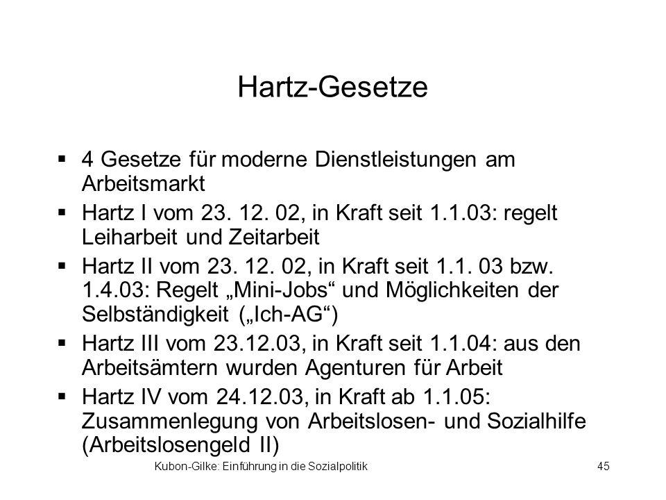Kubon-Gilke: Einführung in die Sozialpolitik45 Hartz-Gesetze 4 Gesetze für moderne Dienstleistungen am Arbeitsmarkt Hartz I vom 23. 12. 02, in Kraft s