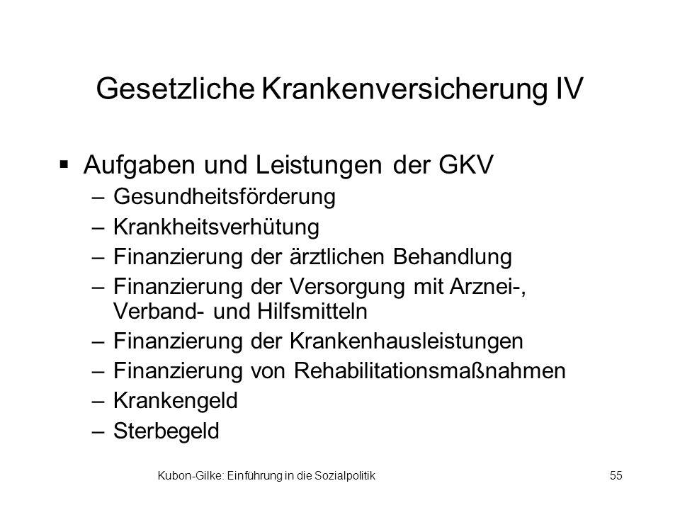 Kubon-Gilke: Einführung in die Sozialpolitik55 Gesetzliche Krankenversicherung IV Aufgaben und Leistungen der GKV –Gesundheitsförderung –Krankheitsver