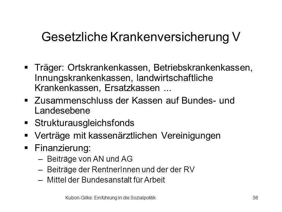 Kubon-Gilke: Einführung in die Sozialpolitik56 Gesetzliche Krankenversicherung V Träger: Ortskrankenkassen, Betriebskrankenkassen, Innungskrankenkassen, landwirtschaftliche Krankenkassen, Ersatzkassen...