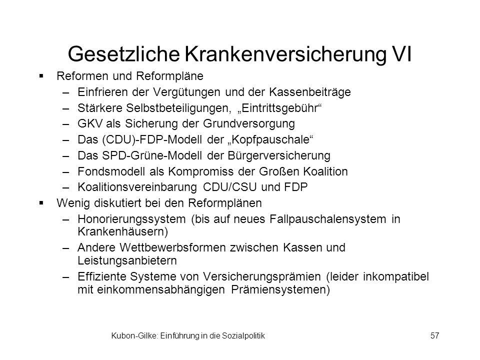 Kubon-Gilke: Einführung in die Sozialpolitik57 Gesetzliche Krankenversicherung VI Reformen und Reformpläne –Einfrieren der Vergütungen und der Kassenbeiträge –Stärkere Selbstbeteiligungen, Eintrittsgebühr –GKV als Sicherung der Grundversorgung –Das (CDU)-FDP-Modell der Kopfpauschale –Das SPD-Grüne-Modell der Bürgerversicherung –Fondsmodell als Kompromiss der Großen Koalition –Koalitionsvereinbarung CDU/CSU und FDP Wenig diskutiert bei den Reformplänen –Honorierungssystem (bis auf neues Fallpauschalensystem in Krankenhäusern) –Andere Wettbewerbsformen zwischen Kassen und Leistungsanbietern –Effiziente Systeme von Versicherungsprämien (leider inkompatibel mit einkommensabhängigen Prämiensystemen)