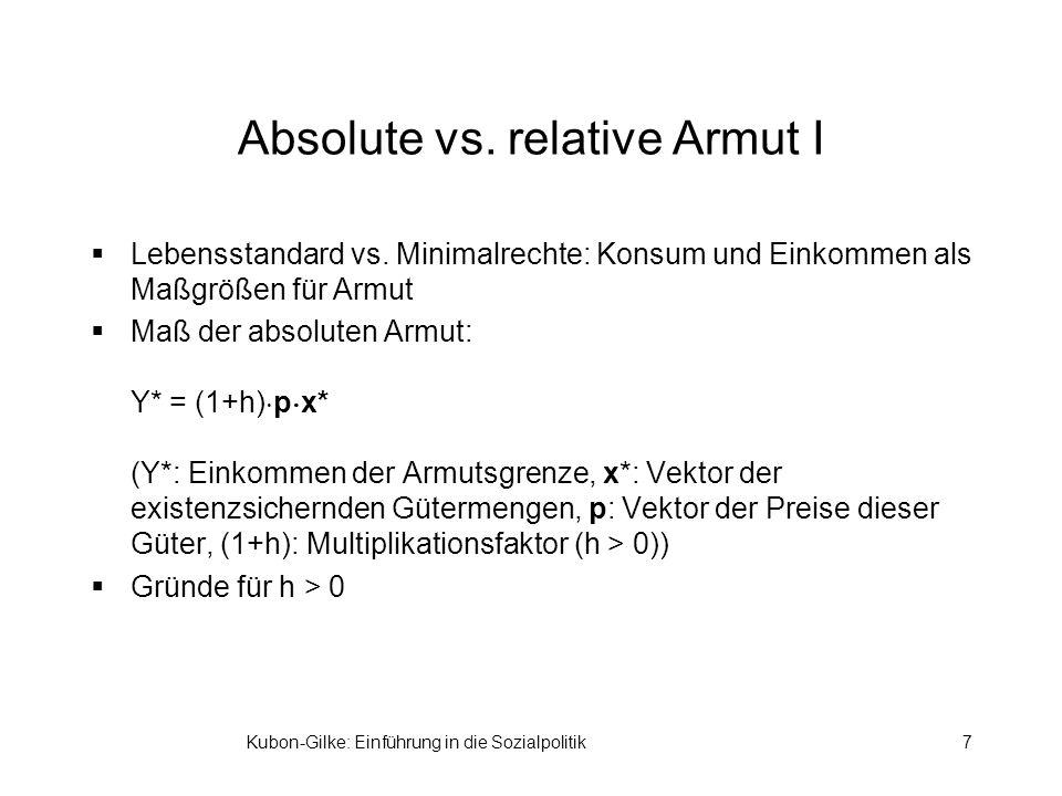 Kubon-Gilke: Einführung in die Sozialpolitik7 Absolute vs.