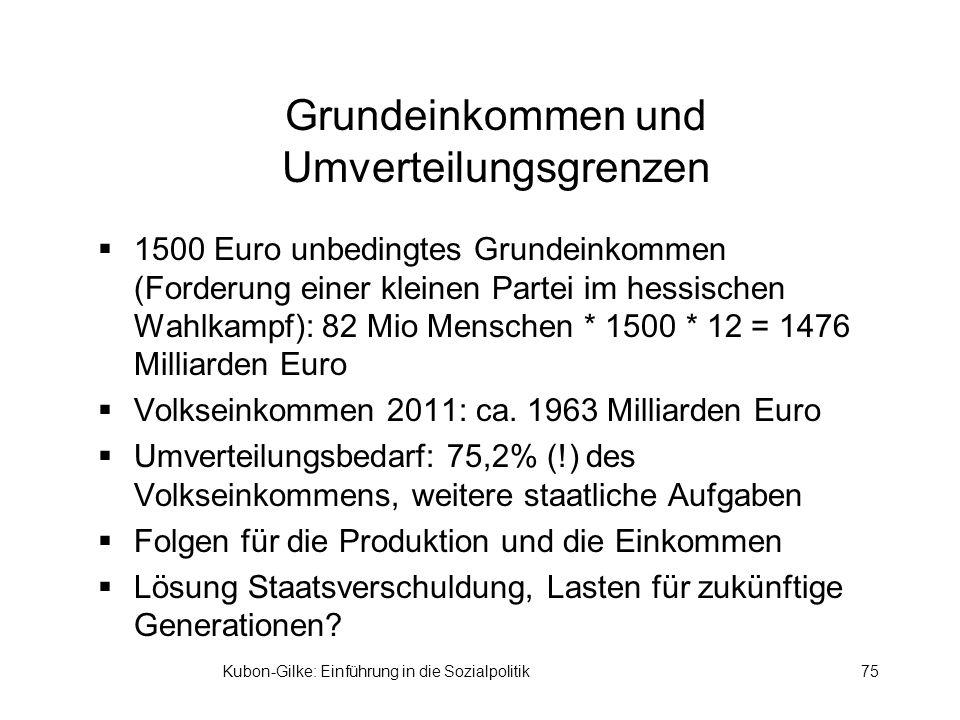 Kubon-Gilke: Einführung in die Sozialpolitik75 Grundeinkommen und Umverteilungsgrenzen 1500 Euro unbedingtes Grundeinkommen (Forderung einer kleinen Partei im hessischen Wahlkampf): 82 Mio Menschen * 1500 * 12 = 1476 Milliarden Euro Volkseinkommen 2011: ca.