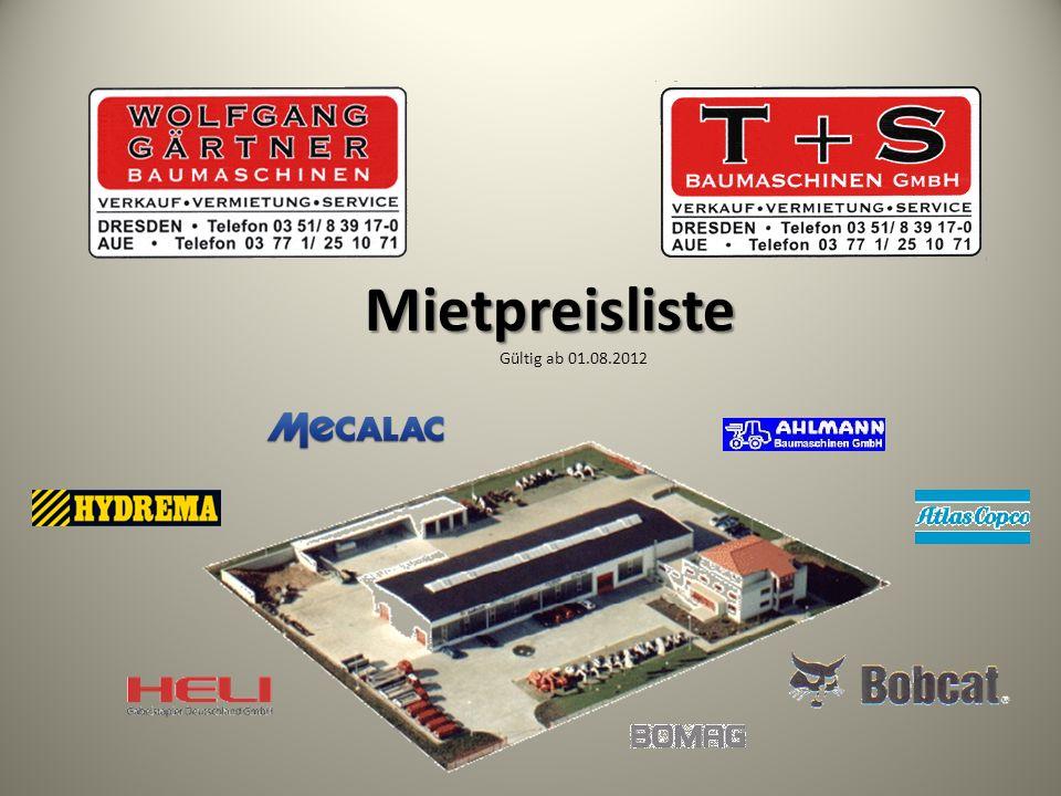 Mietpreisliste Mietpreisliste Gültig ab 01.08.2012