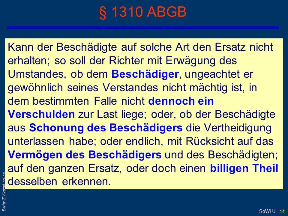 SoWi Ü - 13 Barta: Zivilrecht online § 1309 ABGB Außer diesem Falle gebührt ihm der Ersatz von denjenigen Personen, denen der Schade wegen Vernachläss