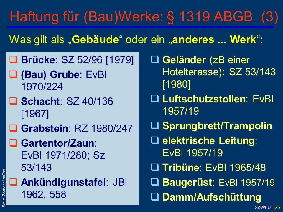 SoWi Ü - 24 Barta: Zivilrecht online Haftung für (Bau)Werke: § 1319 ABGB (2) qAbgrenzung zu § 1318 ABGB: l Blumenkiste, Holzjalousie und Geschäftsschi