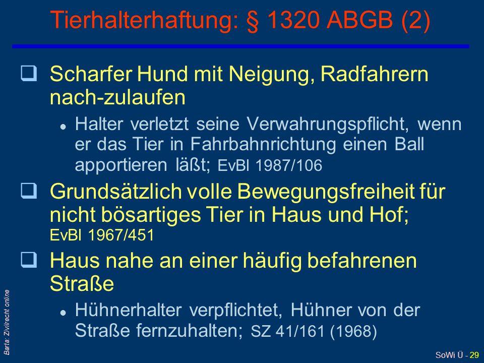 SoWi Ü - 28 Barta: Zivilrecht online Tierhalterhaftung: § 1320 ABGB (1) qMaß der erforderlichen Aufsicht und Verwahrung: l nach Umständen des Einzelfa