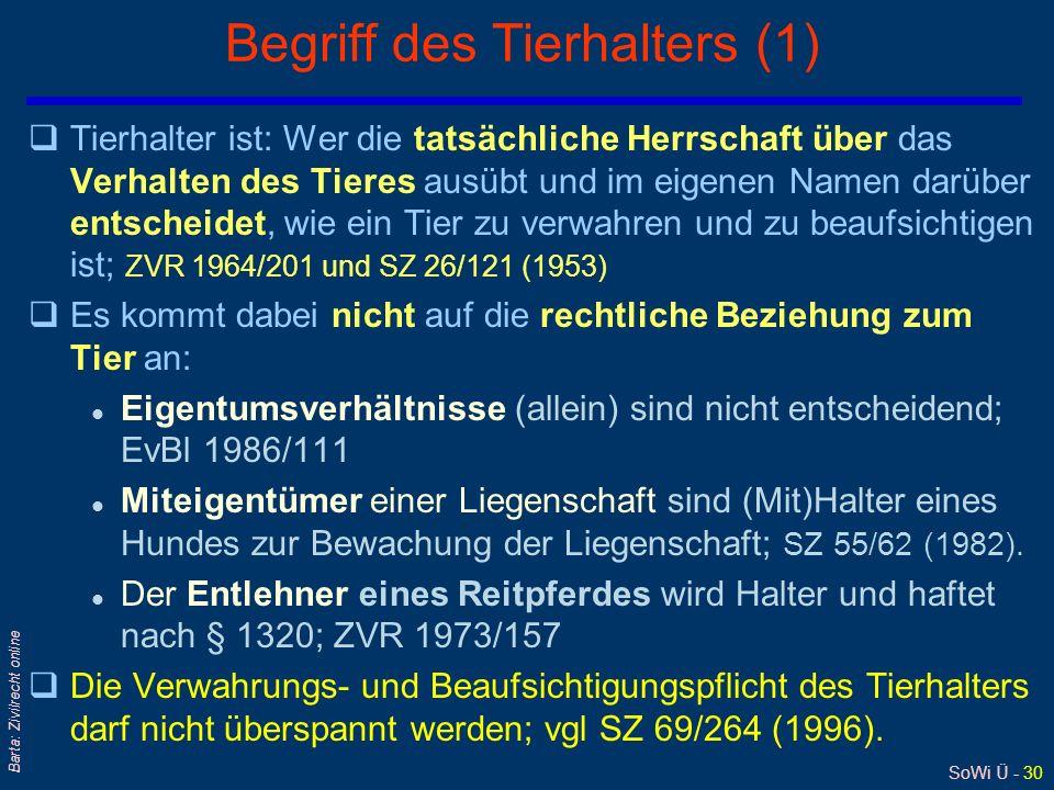 SoWi Ü - 29 Barta: Zivilrecht online Tierhalterhaftung: § 1320 ABGB (2) qScharfer Hund mit Neigung, Radfahrern nach-zulaufen l Halter verletzt seine V