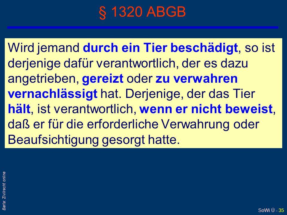 SoWi Ü - 34 Barta: Zivilrecht online § 1315 ABGB Überhaupt haftet derjenige, welcher sich einer untüchtigen oder wissentlich einer gefährlichen Person