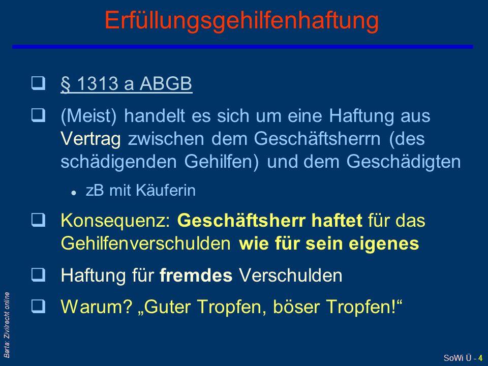 SoWi Ü - 3 Barta: Zivilrecht online Gehilfenhaftung (2) – Beispiel Kauf Bei Lieferung eines FS-Apparats durch Gehilfen des VK beschädigen diese die Gl