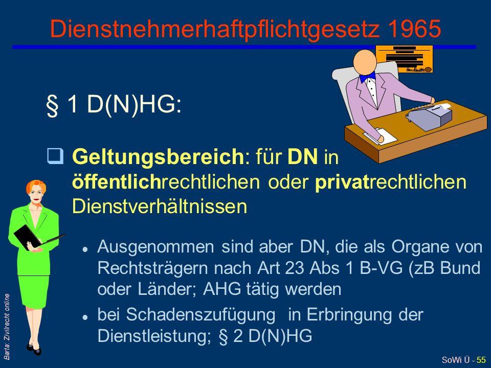 SoWi Ü - 54 Barta: Zivilrecht online Skizze zu JBl 1987, 104 Narkoseärztin in Facharztausbildung Träger der Krankenanstalt Patientin = zehnjähriges Mä