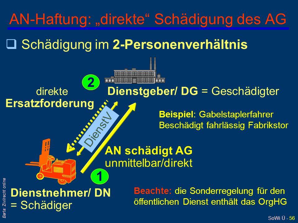 SoWi Ü - 55 Barta: Zivilrecht online Dienstnehmerhaftpflichtgesetz 1965 § 1 D(N)HG: qGeltungsbereich: für DN in öffentlichrechtlichen oder privatrecht
