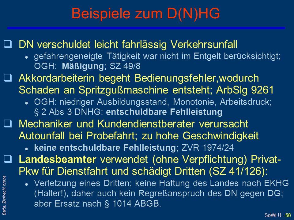 SoWi Ü - 57 Barta: Zivilrecht online AN-Haftung: indirekte Schädigung des AG Schädigung im 3-Personenverhältnis Kunde hat bei Schädigung Direktanspruc