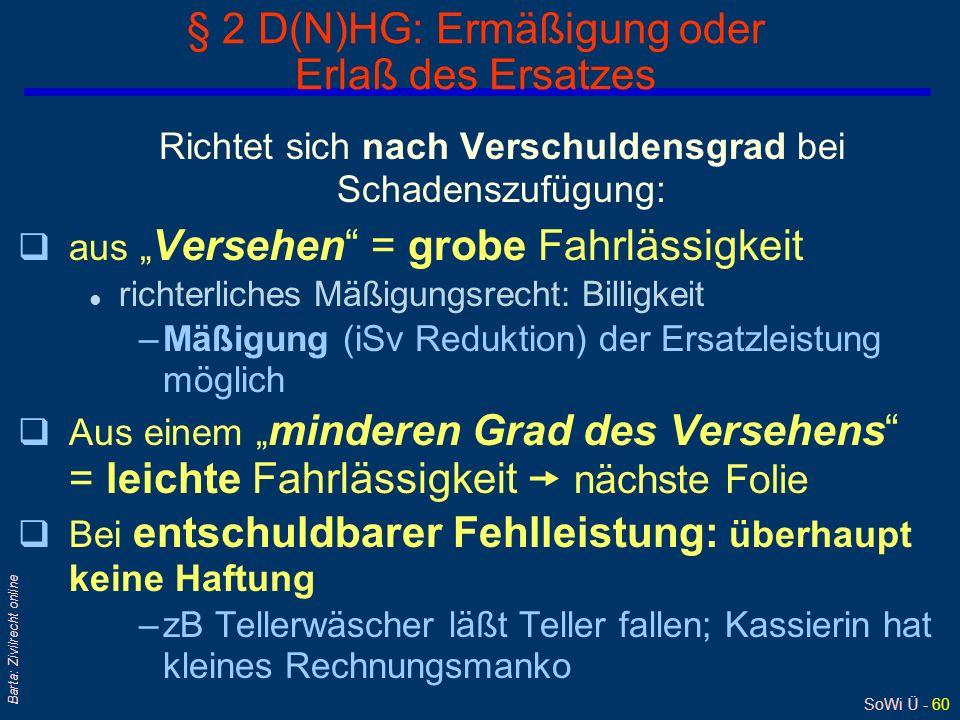 SoWi Ü - 59 Barta: Zivilrecht online § 3 D(N)HG: Leistung des DN an Dritte 3 - Personenverhältnis DN-Regreß nach § 3 DHG Ersatzleistung Potentieller D