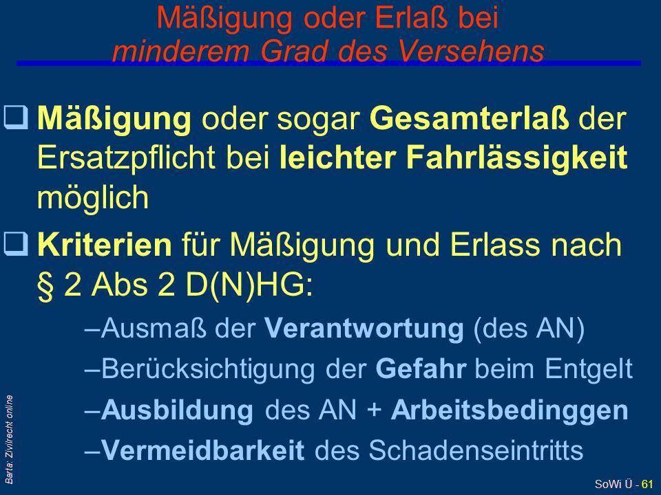 SoWi Ü - 60 Barta: Zivilrecht online § 2 D(N)HG: Ermäßigung oder Erlaß des Ersatzes Richtet sich nach Verschuldensgrad bei Schadenszufügung: qaus Vers