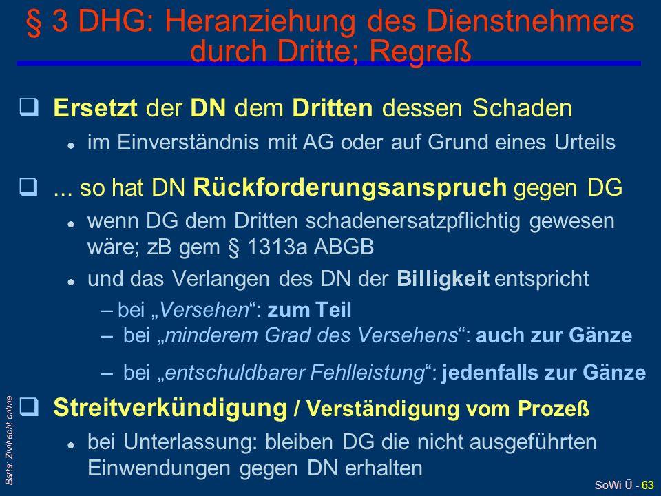 SoWi Ü - 62 Barta: Zivilrecht online §§ 5,6 und 7 D(N)HG: Beschränkungen der Dienstnehmer-Rechte, Frist qBeschränkung oder Aufhebung der Rechte des Di