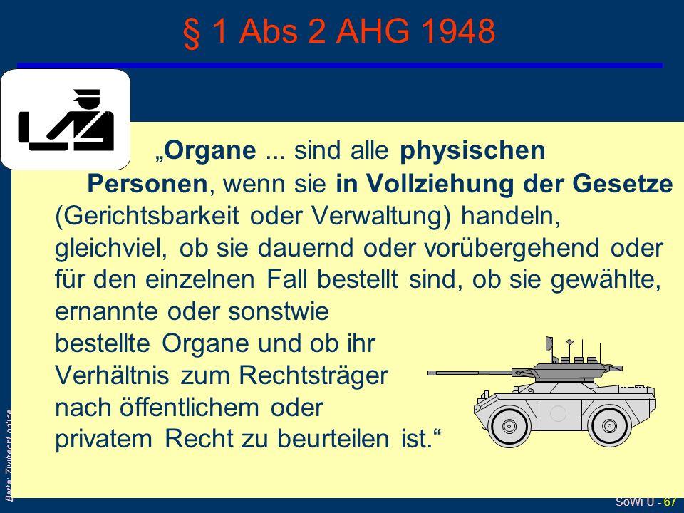 SoWi Ü - 66 Barta: Zivilrecht online AHG: … in Vollziehung der Gesetze ? qGemeint ist damit die Hoheitsverwaltung, die mit Befehls- und Zwangsgewalt a