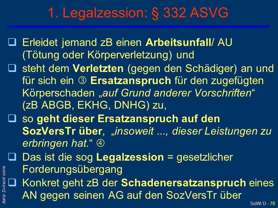 SoWi Ü - 77 Barta: Zivilrecht online Legalzession § 332 I ASVG 4 Schadenersatz und Sozialversicherung schädigt AG verursacht / verschuldet AU / BK 1 A