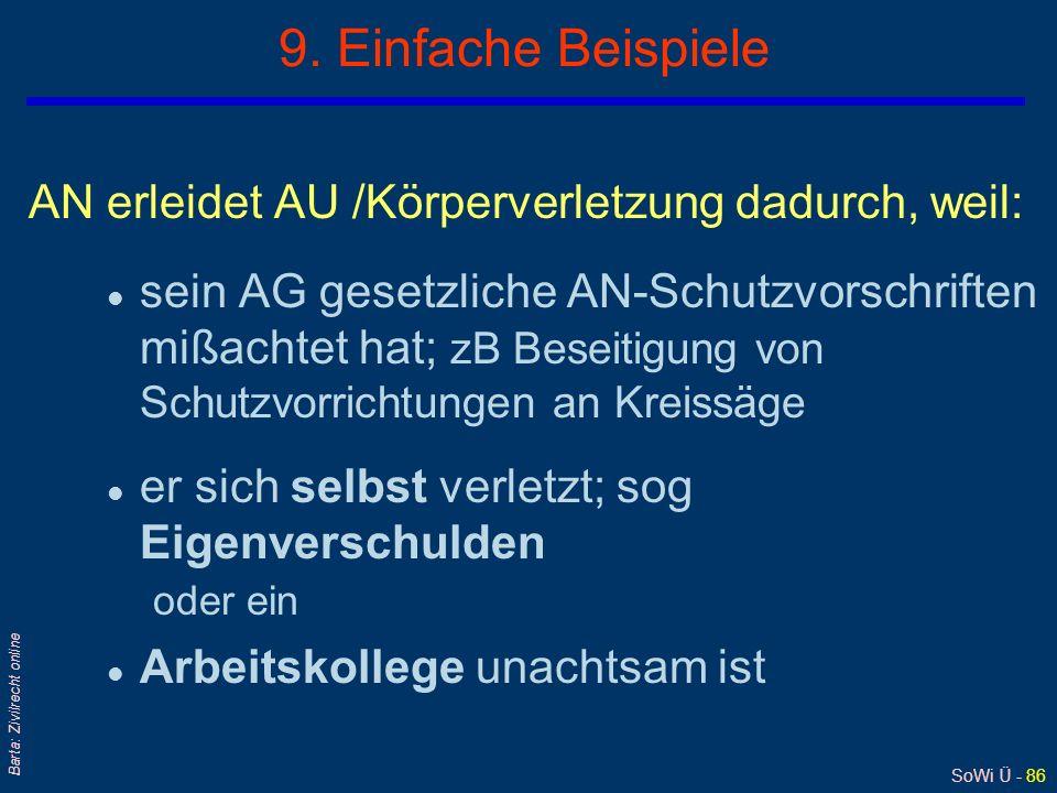 SoWi Ü - 85 Barta: Zivilrecht online 8. Arbeitskollegenhaftung/2 qUmstritten war, ob der (geschädigte) AN seine Ansprüche gegen seine/n Arbeitskollege