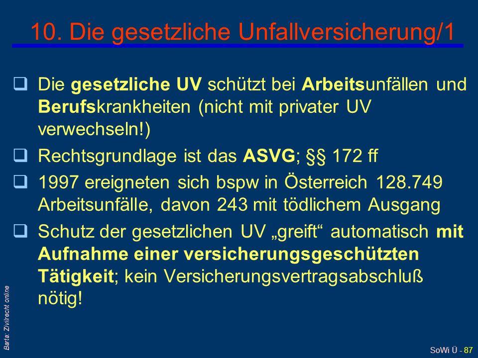 SoWi Ü - 86 Barta: Zivilrecht online 9. Einfache Beispiele AN erleidet AU /Körperverletzung dadurch, weil: l sein AG gesetzliche AN-Schutzvorschriften