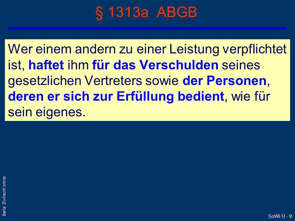 SoWi Ü - 8 Barta: Zivilrecht online § 1313 ABGB Für fremde, widerrechtliche Handlungen, woran jemand keinen Theil genommen hat, ist er in der Regel au
