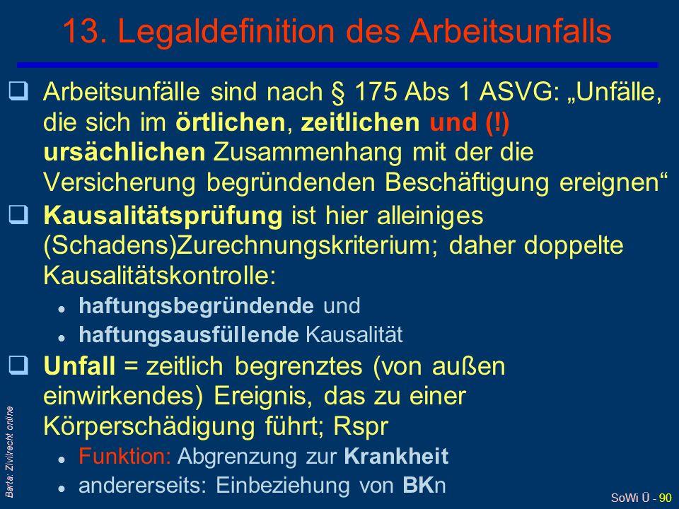 SoWi Ü - 89 Barta: Zivilrecht online 12. Die gesetzliche Unfallversicherung/3 qDie gesetzliche UV statuiert eine verschuldensunab- hängige (Gefährdung