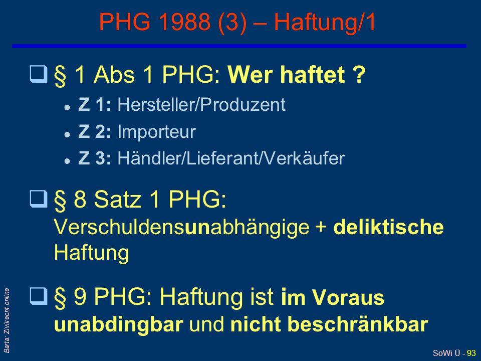 SoWi Ü - 92 Barta: Zivilrecht online PHG 1988 (2) - Abgrenzung zur GWL qGWL Schlechterfüllung = Mangelhaftigkeit der Sache selbst qPHG durch den Fehle